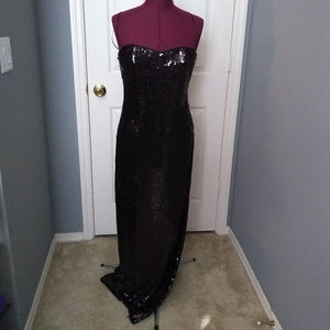 Vintage Mary L Couture Black Sequin Prom Dress